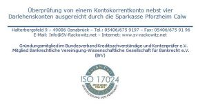 Kreditgutachten Girokonto Sparkasse Pforzheim Calw